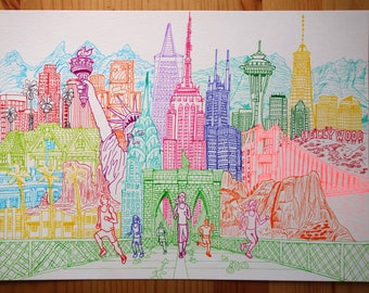 United States Illustration A4 Original Drawing