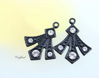 Crystal Clear Swarovski Rhinestone Set Stone Art Deco Style Earring Dangle Stamping Drops 20x16mm Gothic Black Metal - 2