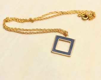 Navy Square Necklace, Blue Square Necklace, Square Necklace, Enamel Necklace, Geometric Necklace, Gold Square Necklace, Gold Necklace