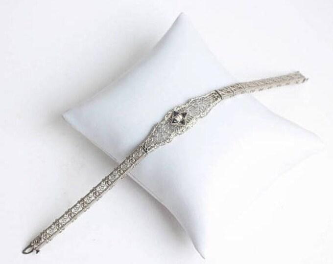 CIJ Sale Art Deco Filigree Bracelet Rhodium Faux Sapphires JHP Vintage