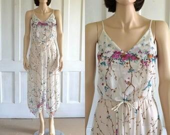70s Sheer Sundress Handkerchief Hem 80s Floral Bluebird Print Dress