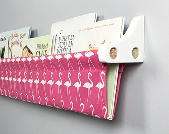 Book Sling and Wooden Brackets - Flamingo Bright Pink and White  Wall Organizer- Choose your size