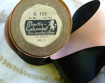 Vintage French Pink and Black Satin Ribbon