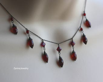 Deep Red Mozambique Garnet, Oxidized Silver, Summer Trends, Goth Wedding, Retro, Downton Abbey Style, Birthday Gift for Wife, for Sister