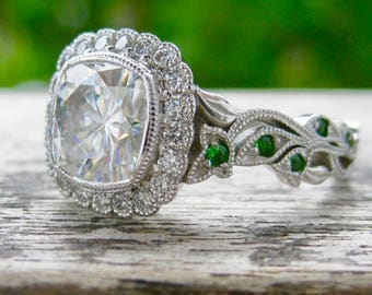 Vine Ring with Forever One Moissanite Natural Diamonds and Green Tsavorite Gems in 14K White Gold Setting Size 6
