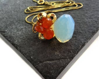 Pyrite Carnelian Opalite Opal Necklace, Gemstone Cluster Necklace, Bridal Necklace, Gifts For Her, Modern Jewelry, Gemstone Pendant