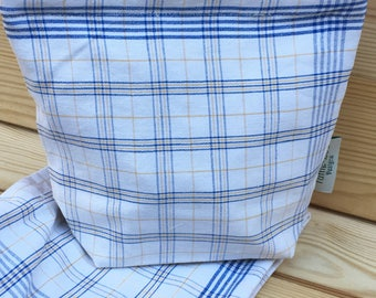 Vintage Linen Sandwich/Snack Bags with Food Safe Liner (1Bag) Blue and Yellow Plaid /Grid