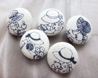 Storybook Fairy Tale Dark Blue Sunbonnet Sue Lady Girl Wearing Hat -Handmade Fabric Covered Buttons(0.75 Inches, 5PCS)