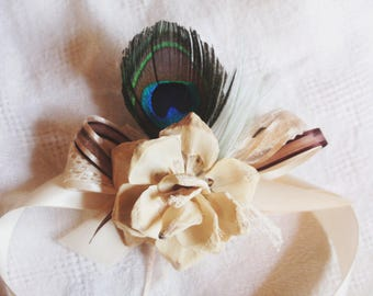 Reserve: 3 Flowers and Peacock Feathers Corsage for the Lovely Ladies