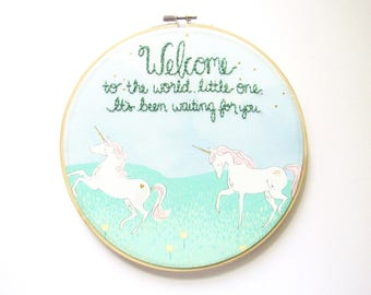 Unicorn Nursery Art, Personalized Nursery Sign, Unicorn Wall Art, Embroidery Hoop Art, Gender Neutral, Baby Boy Nursery Art, Baby Shower
