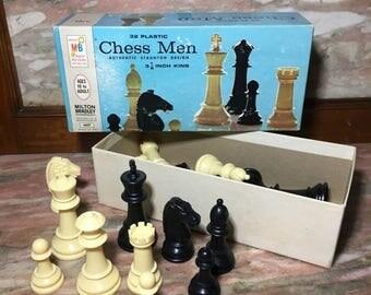 Christmas Sale Vintage CHESS MEN Milton Bradley 1970s Set 32 Plastic Pieces