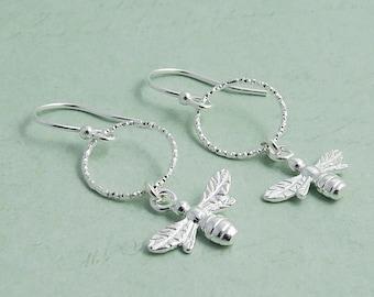 Silver Bee Earrings, sterling silver, circle earrings, bumble bee dangle earrings
