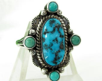 Vintage NAVAJO STERLING Old KINGMAN? Turquoise Ring Silver Size 11 Signed A