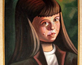 CRYING GIRL Oil Painting F. PETRILLO Vintage Portrait Framed Artist Signed