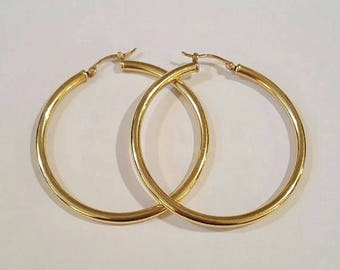 Vintage 14k Yellow Gold Hoop Earrings