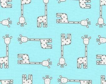 Robert Kaufman Fabric Penned Pals Giraffes in Aqua by Ann Kelle, Choose your cut