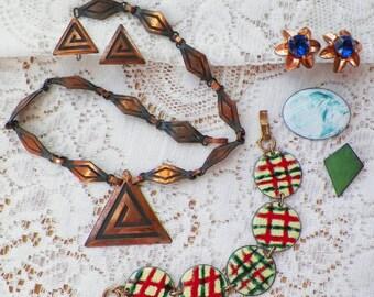 Destash Lot Copper / Coppery Vintage Jewelry, Geometric Necklace, Screw Back Earrings, Brooches, Necklace, Enamel / Enameled