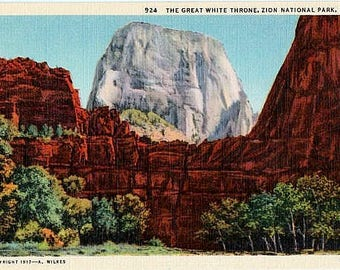 Vintage Utah Postcard - The Great White Throne at Zion National Park (Unused)