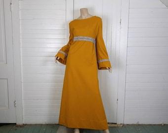 60s Formal Dress in Mustard Yellow- 1960s Plus Size- Mod / Hippie / Renaissance- Silver Trim- Bell Sleeves, Empire Waist