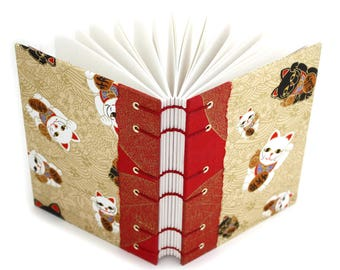 Lucky Cat Journal in Gold and Red - handmade by Ruth Bleakley