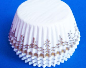 50 White Glassine with Gold Design Cupcake Liners