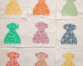 Party Dresses Appliqued Quilt Blocks
