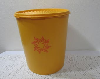 Tupperware Canister Large Maxi Golden Yellow with Orange Design