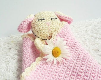 Sheep Baby Blanket - Sheep Baby Lovey - Lamb Blanket - Security Blanket - Crochet Blanket - Pink Blanket - Gift for Baby - Sheep Gift