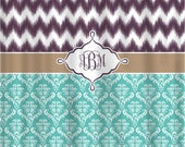 Custom Ikat Chevron & Damask, ANY Colors, Shown Plum, Blue and Brown, Personalized