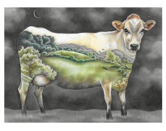 "Cow Art Print, limited edition - ""Mother of us All"""