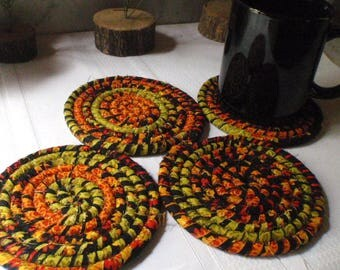 Fall Colored Fabric Coasters - Set of 4 - Kitchen, Entertaining, Hostess Gift, Handmade by Me