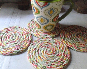 Lollipop Swirl Coiled Fabric Coasters - Set of 4 Absorbent Coasters - Handmade by Me
