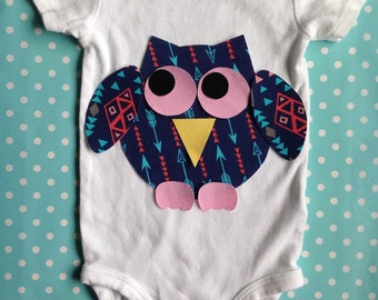 Large Chubby Fabric Iron On Owl Applique