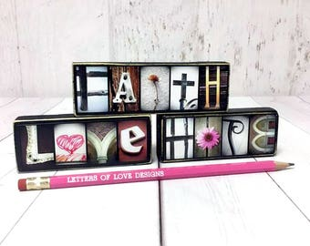 Faith Hope Love Signs, Gift Set for Her, Gifts for Women, Gifts for Christians Gifts Christian Art Christian Home Decor Bible Verse Wall Art