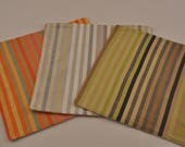 Large Silk Trivets Candy-Striped Eco Hot Pads Colorful Monogrammed Recycled Upcycled Fabrics