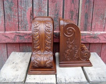 Vintage Large Carved Wood Corbel Bookends Library Office Decor Set of 2