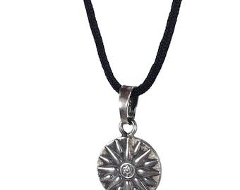 Sterling silver Virginia Sun necklace - Handmade jewelry - Greek jewelry - Sun pendant - Fine jewelry