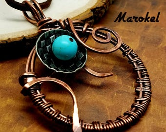 Turquoise Circle Weave Necklace Oxidized Copper Wire Hammered Minimalist Wire wrapped