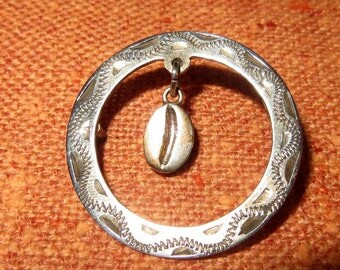 1930s Mexican Coffee Bean Circle Sterling Silver Brooch Pin