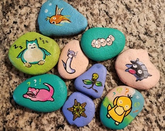 Hand Painted Pokemon Pocket Monster Pet Rocks