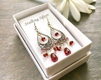 Sterling Silver Garnet Chandelier Earrings. Garnet and Turkish Silver Chandelier Earrings.