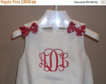 ON SALE Boutique Infant or Toddler white Pique  Bubble Romper with bows Monogrammed Personalized