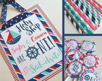 Nautical Birthday Party Decorations Fully Assembled | Holy Ship Nautical Birthday | Twins Birthday Party | Brother Sister Birthday |