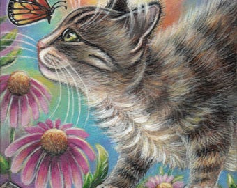 Gray Tabby Cat & Butterfly Original 6x6 Acrylic Painting
