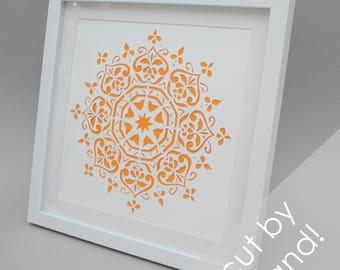 Mandala - PAPER CUTTING - handmade art, unique wall art, details, pattern, texture,choose your own color,flower design,modern art,white