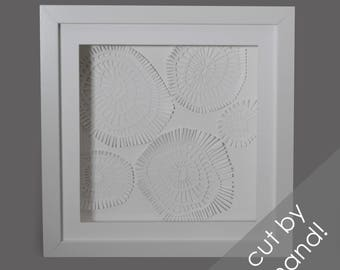 delicate texture - PAPER CUTTING - all white, depth, texture, Paper cut art, flowers, unique wall art, framed paper cut, white paper, layer