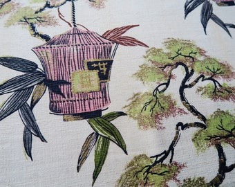 BARKCLOTH  drape, 1950s barkcloth,mid century fabric,retro drapes, asian pattern MCM fabric, upholstery,retro decor