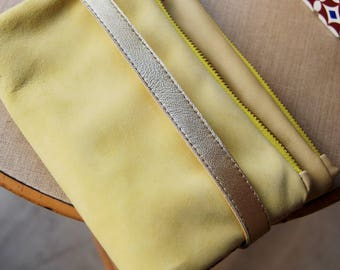 Yellow velvet leather wallet