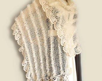 Lace crochet shawl, Knit crochet stole, Prayer shawl, Boho shawl, Knit shawl, Wedding shawl, Loose knit scarf, Summer stole, Long scarf