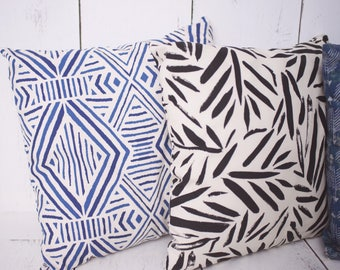 "Mudcloth inspired in Blue / Modern Tropical  / 18"" x 18"" Pillow Cover - High quality zippered pillow cover"